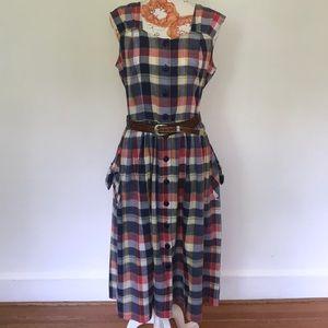 Vintage Plaid Button Down Dress